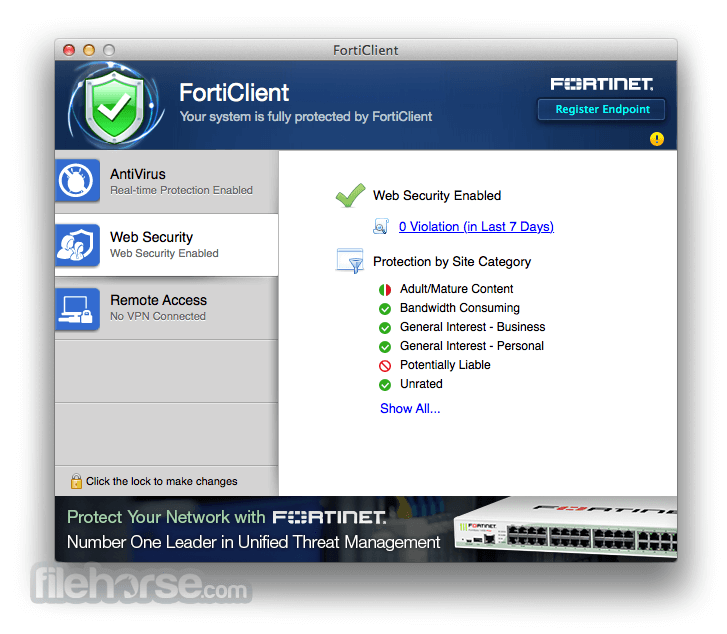 FortiClient 6 0 6 Download for Mac / Change Log / FileHorse com