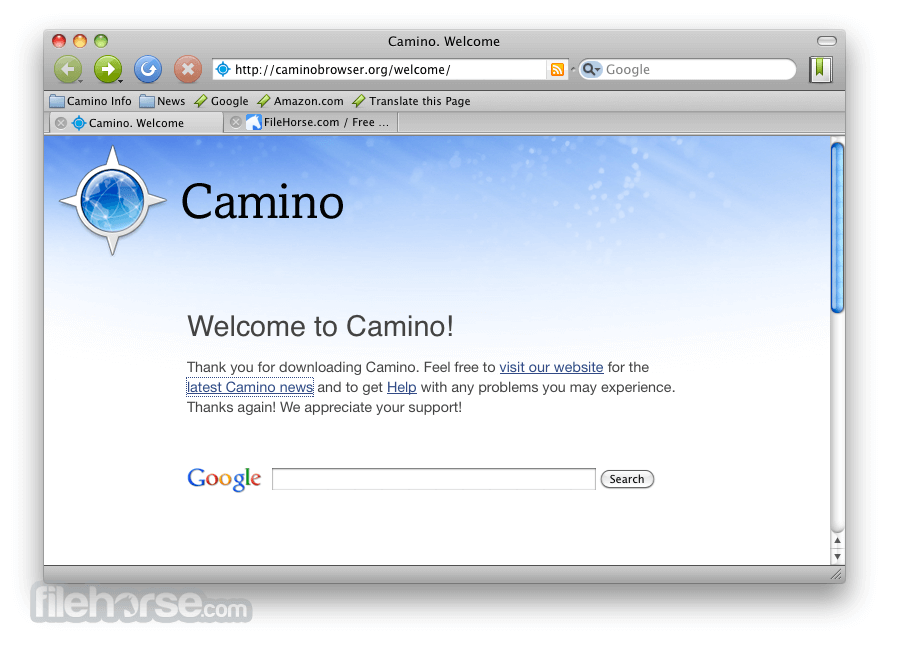 Camino Browser 2.0.9 Screenshot 1