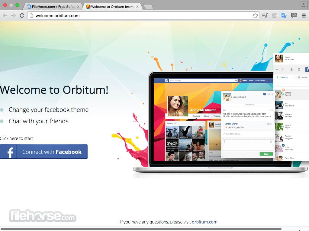 Orbitum Browser 51.0.2704.116 Captura de Pantalla 1