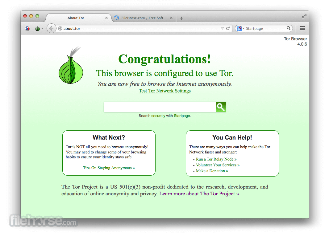 Tor Browser 5.0.1 Captura de Pantalla 1