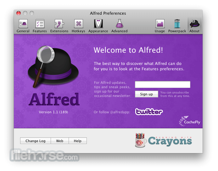 Alfred 2.2.0 Build 243 Screenshot 1