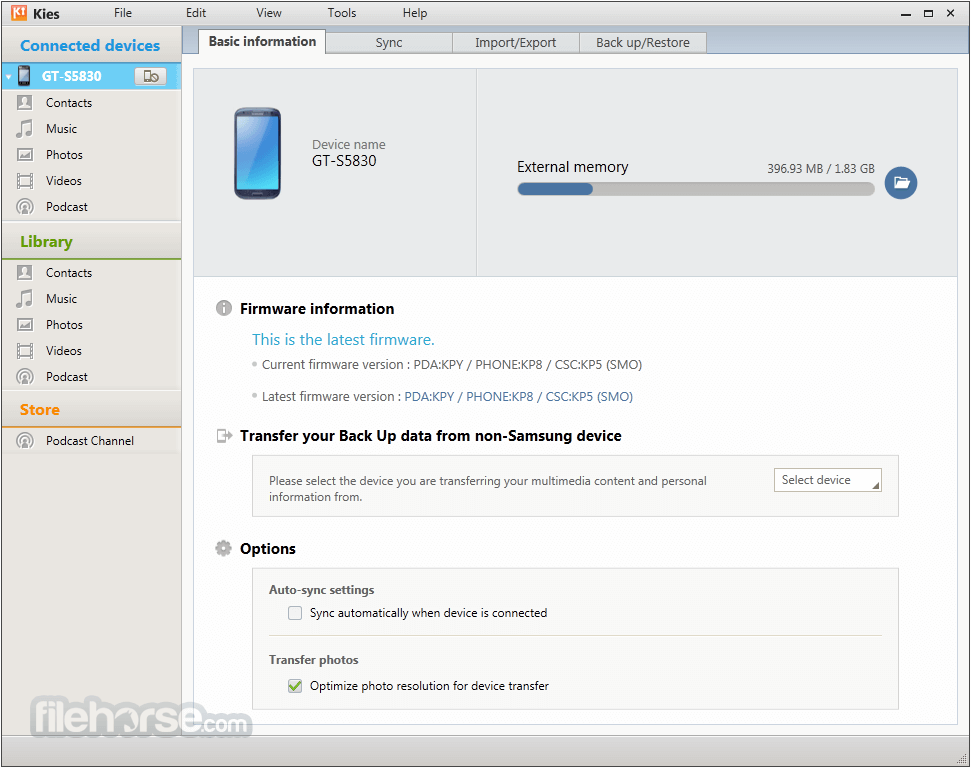 Samsung Kies for Mac 3.0.1.14043.5 Captura de Pantalla 1