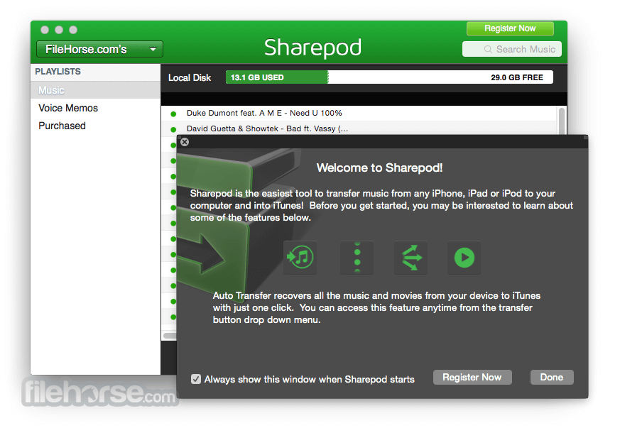 Sharepod for Mac 4.0.7.0 Captura de Pantalla 1