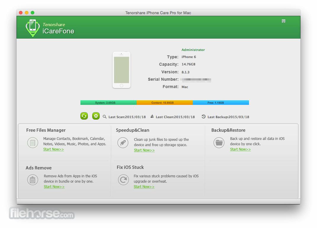 Tenorshare iCareFone 6.2.0 Screenshot 1