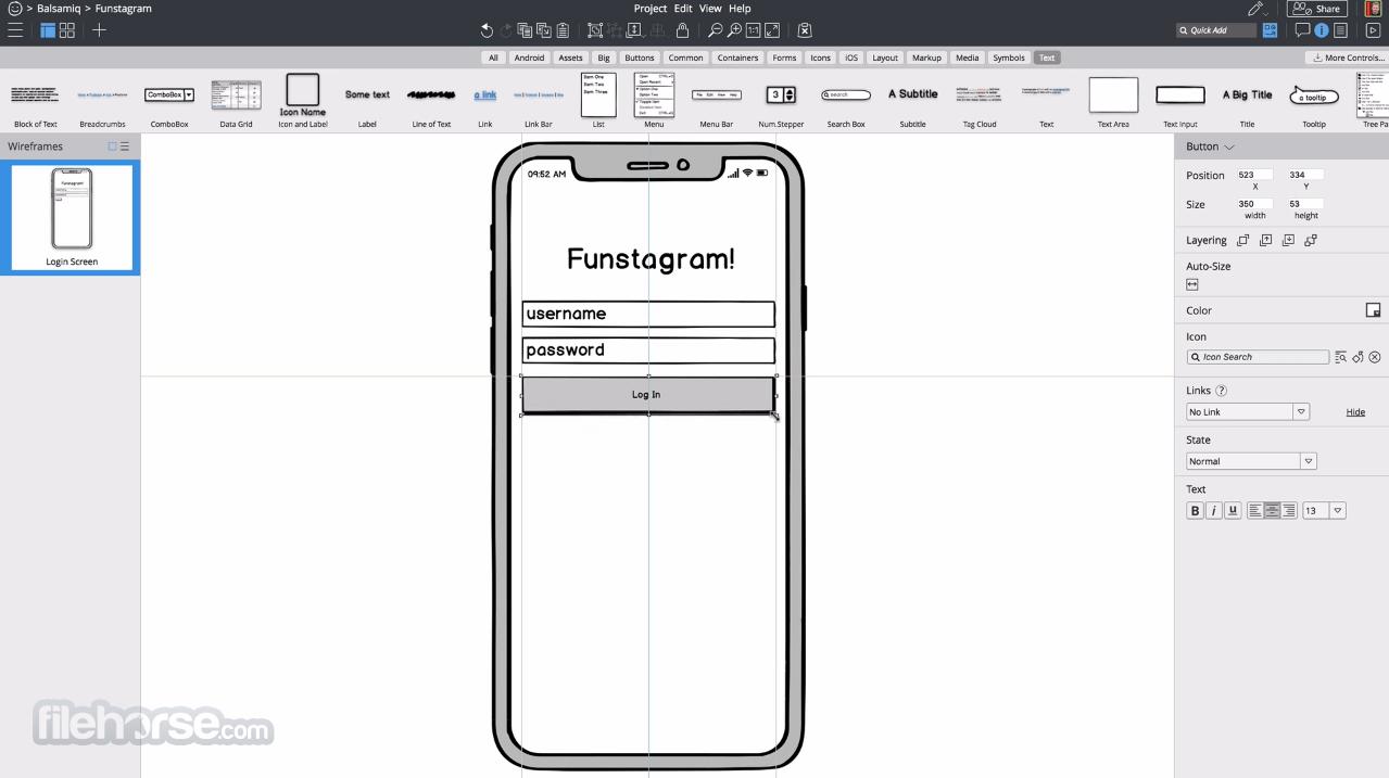 Balsamiq Wireframes 4.2.5 Screenshot 1