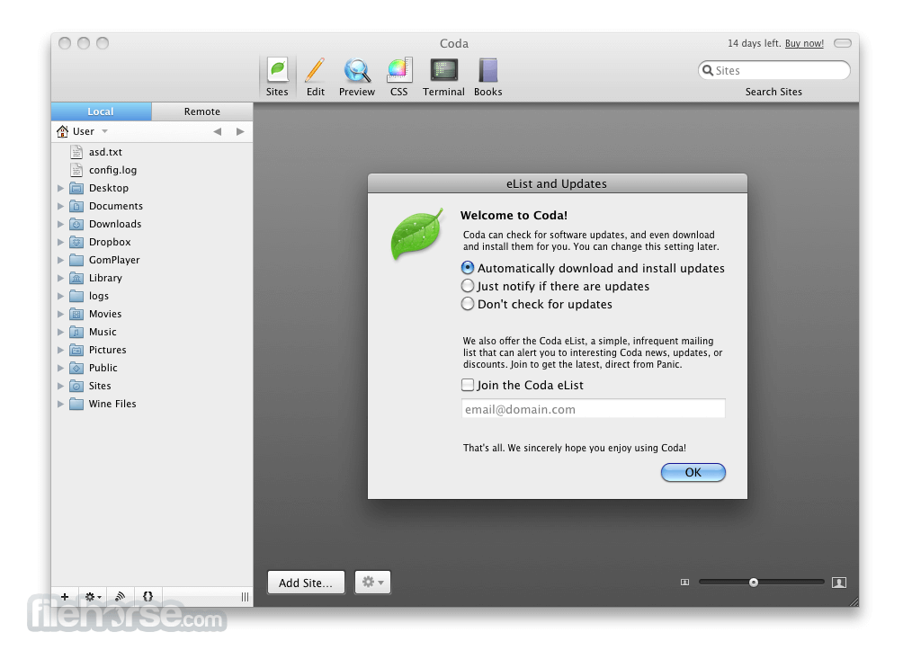 Coda 2.5.14 Screenshot 1