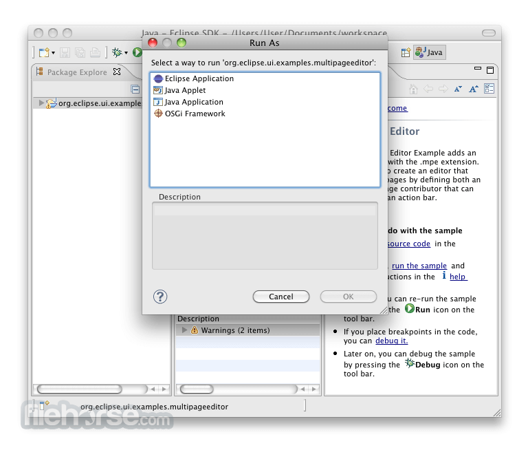 Eclipse SDK 4.2.2 (64-bit) Captura de Pantalla 3