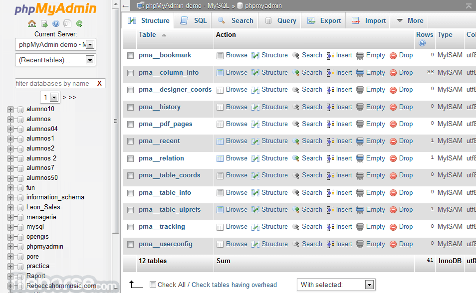 phpMyAdmin 3.4.2 Screenshot 2