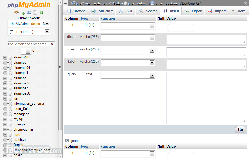 phpMyAdmin 4.6.2 Screenshot 3