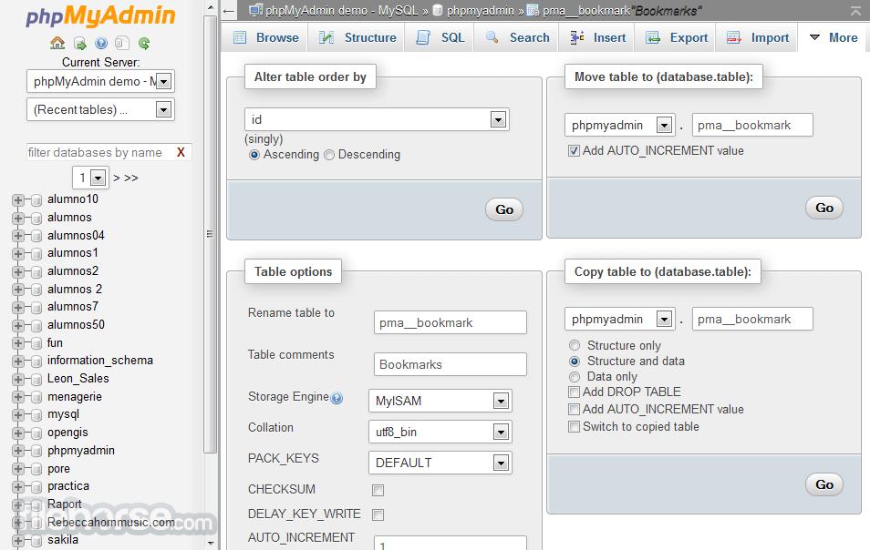 phpMyAdmin 4.6.2 Screenshot 4