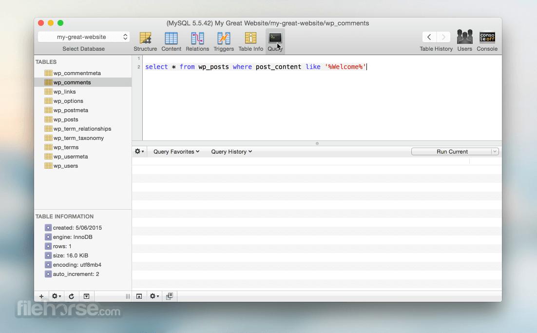 Sequel Pro 1.1.2 Captura de Pantalla 3