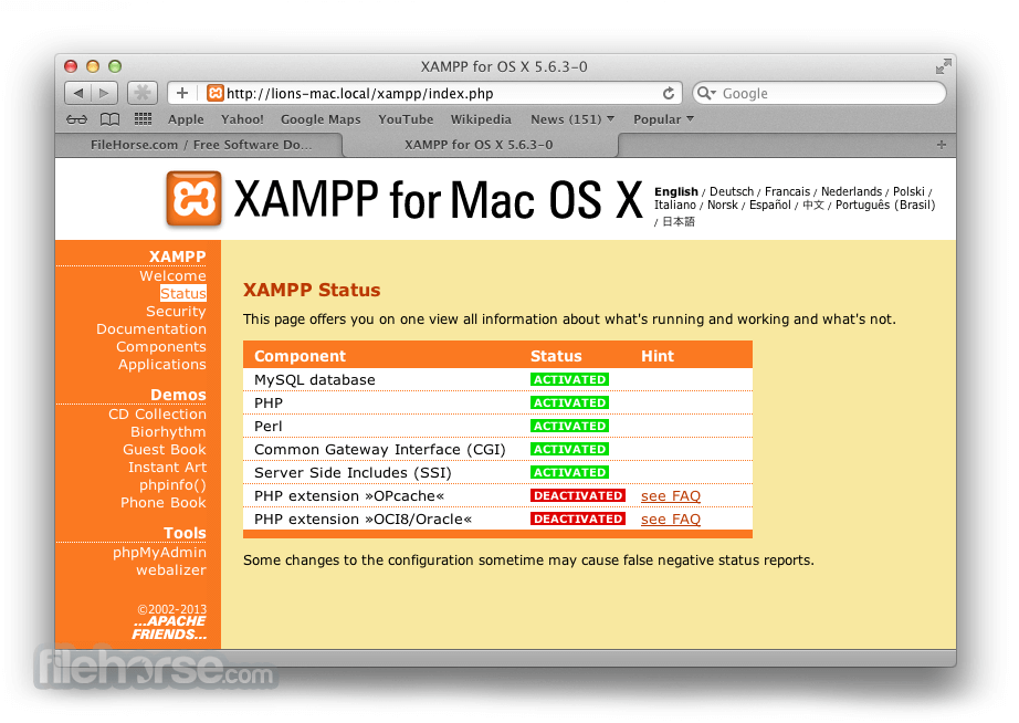 XAMPP 0.2 Beta Captura de Pantalla 5