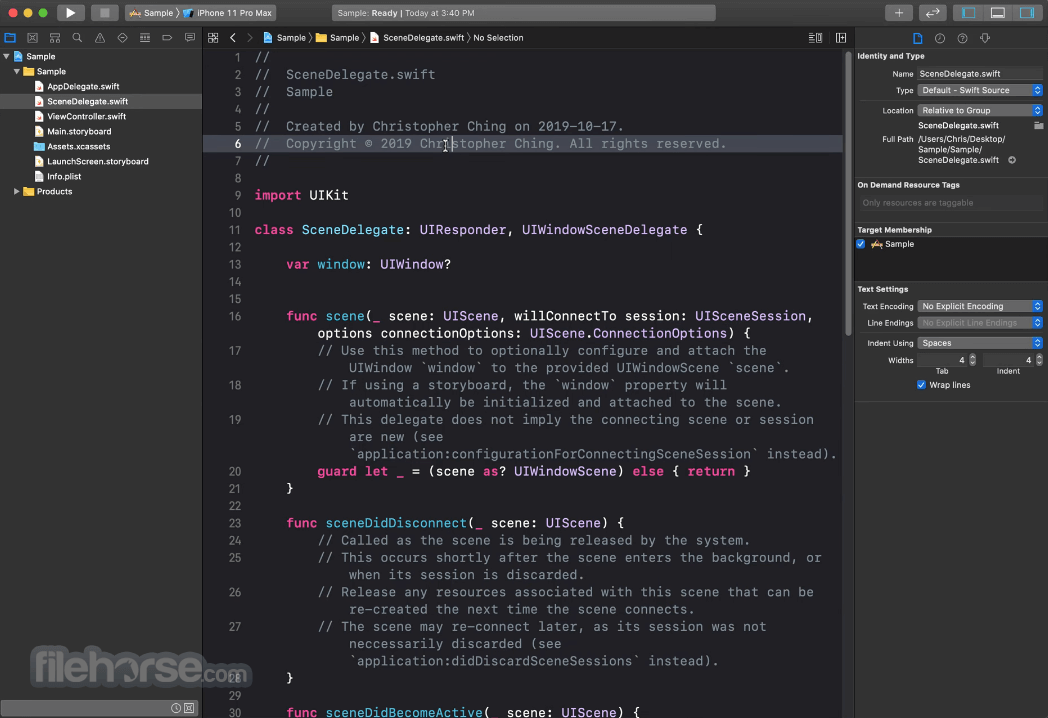 Xcode 12.2 Captura de Pantalla 2