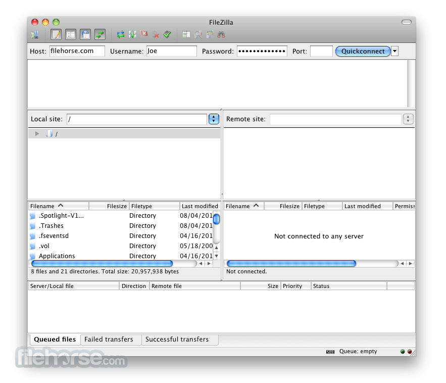 FileZilla 3.8.0 Screenshot 1