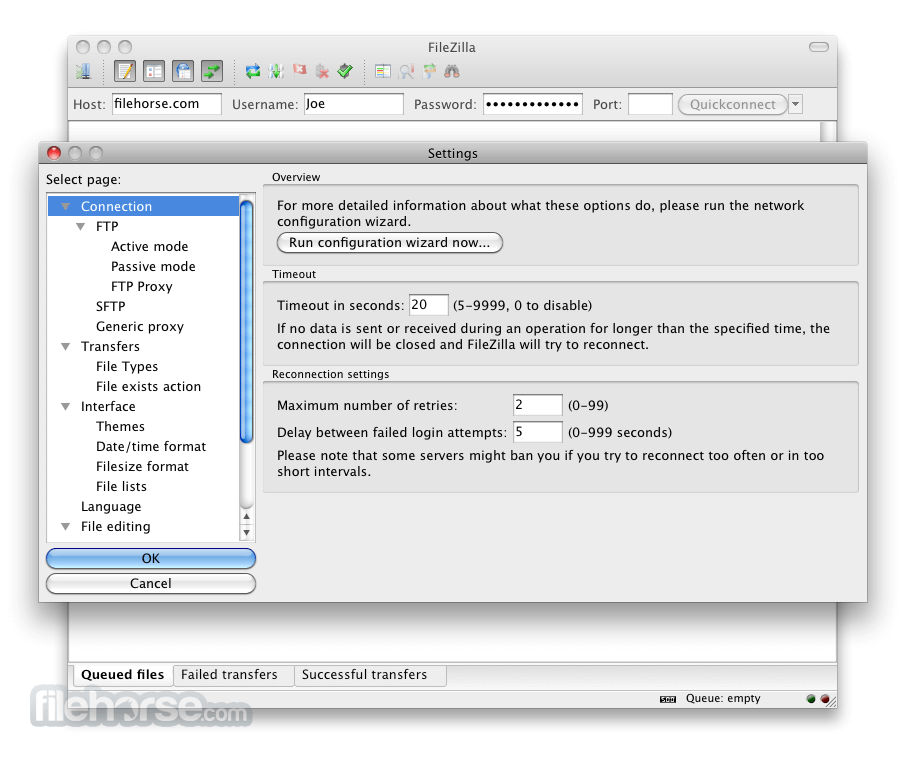 FileZilla 3.9.0.5 Screenshot 2