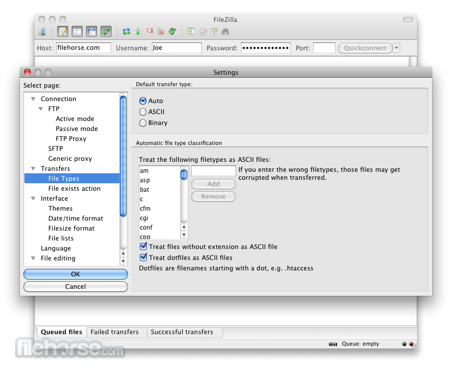 FileZilla 3.8.0 Screenshot 4