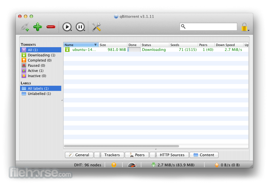 qBittorrent 2.9.11 Captura de Pantalla 1