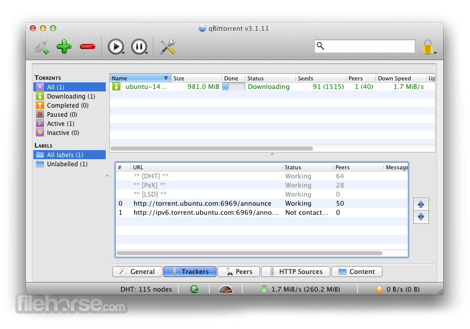 qBittorrent 3.1.11 Screenshot 2