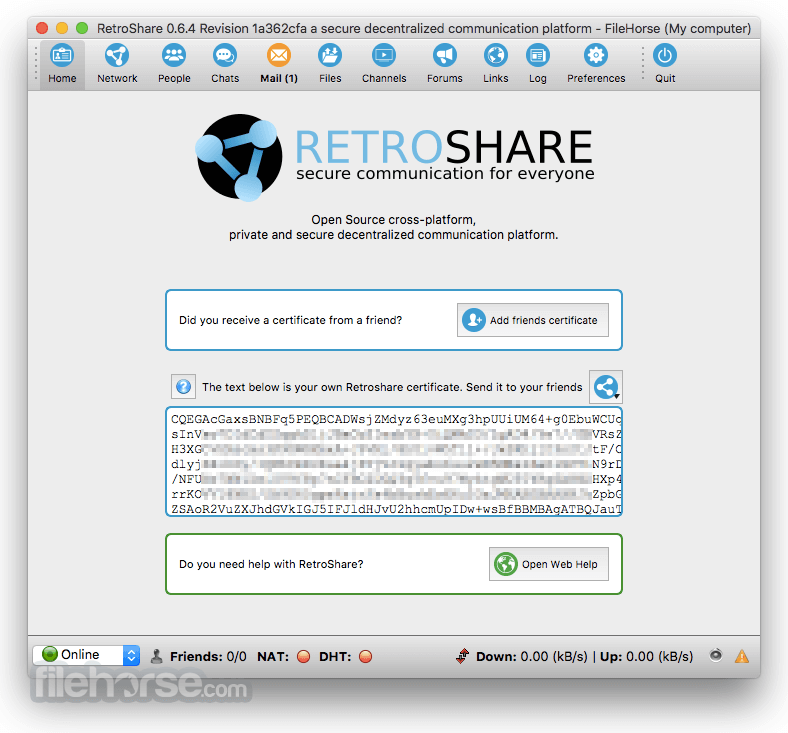 Retroshare 0.6.5 Captura de Pantalla 2