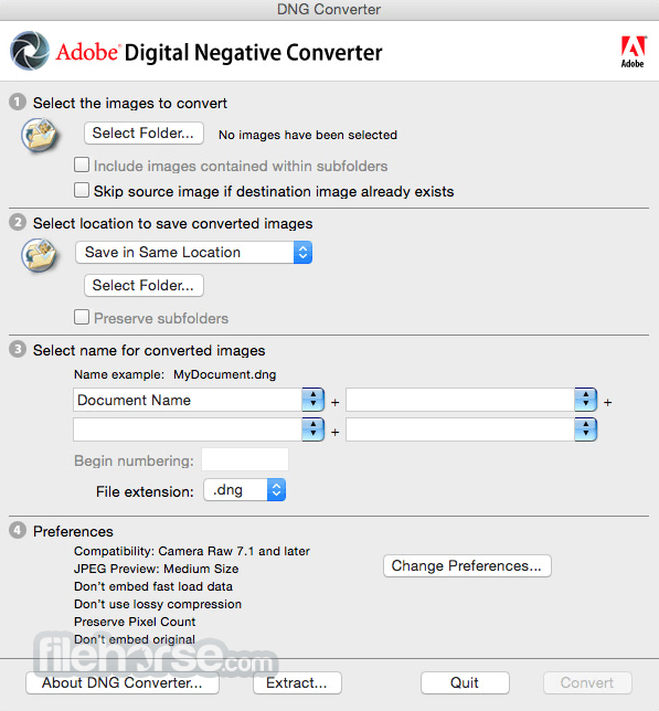 Adobe DNG Converter for Mac 13.0 Screenshot 1
