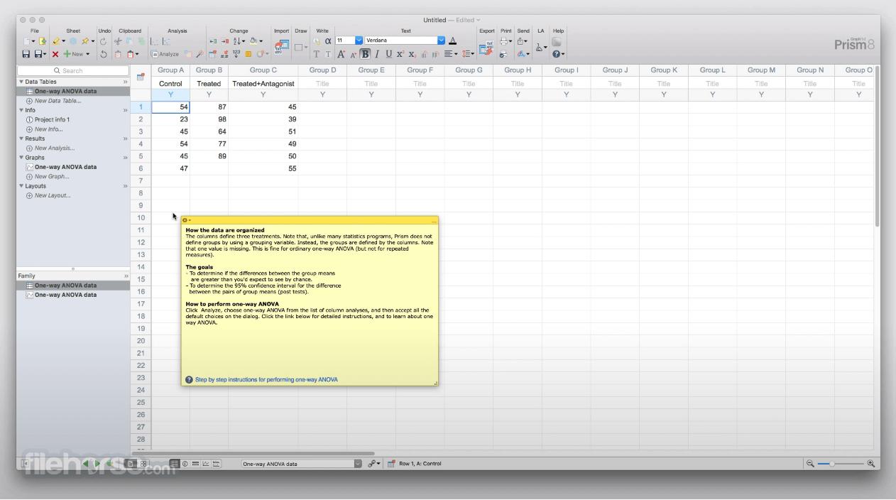GraphPad Prism 8.2 Captura de Pantalla 2