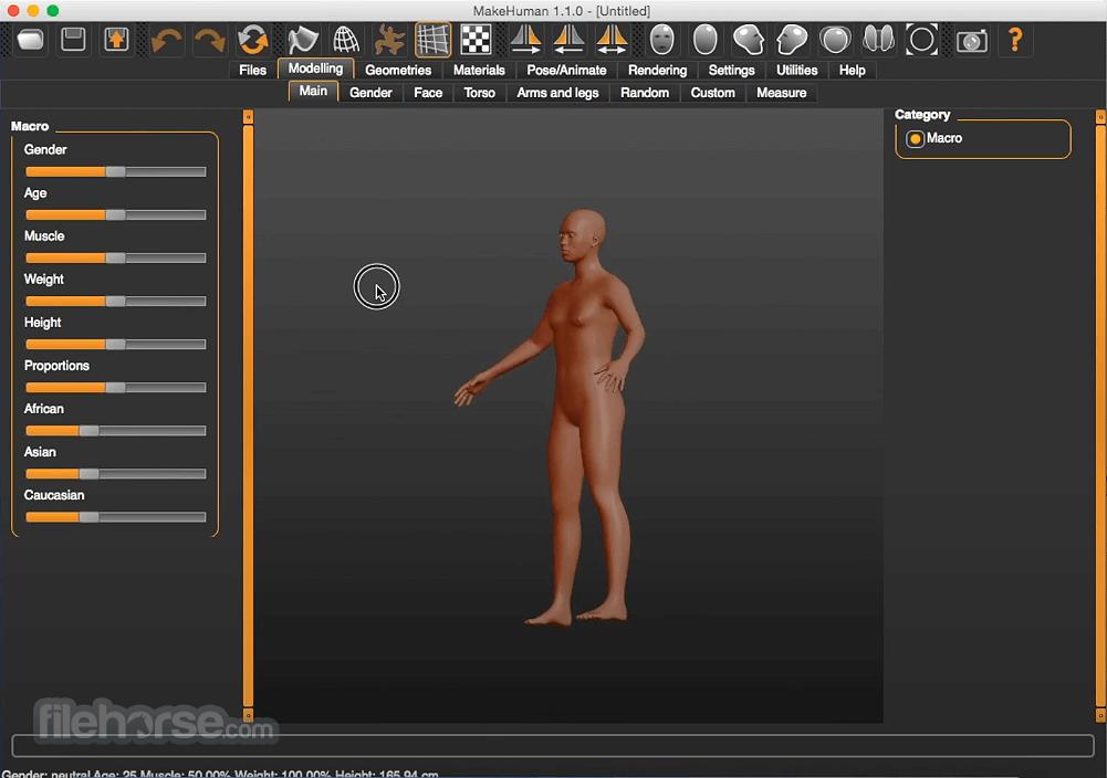MakeHuman 1.1.1 Screenshot 1