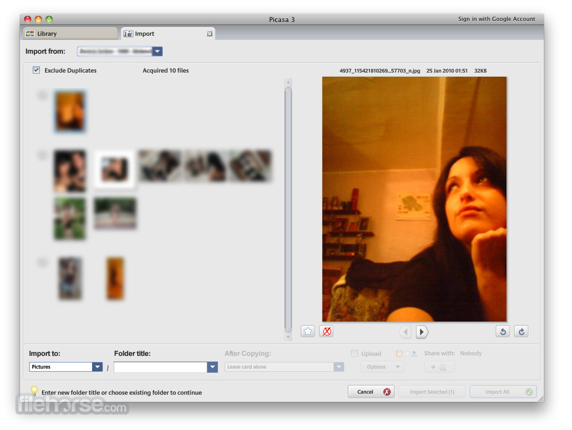 Screenshots of Picasa
