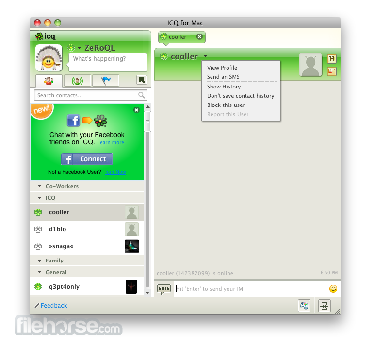 ICQ 1.3.1 Screenshot 1