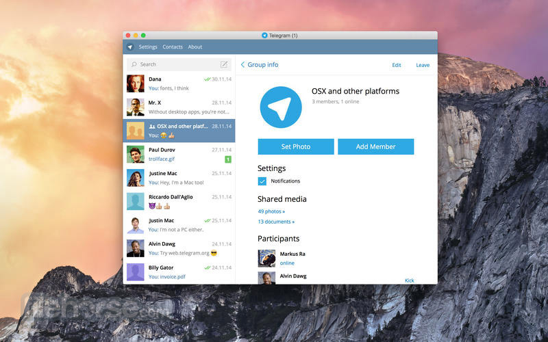 Telegram for Mac 0.9.42 Captura de Pantalla 2