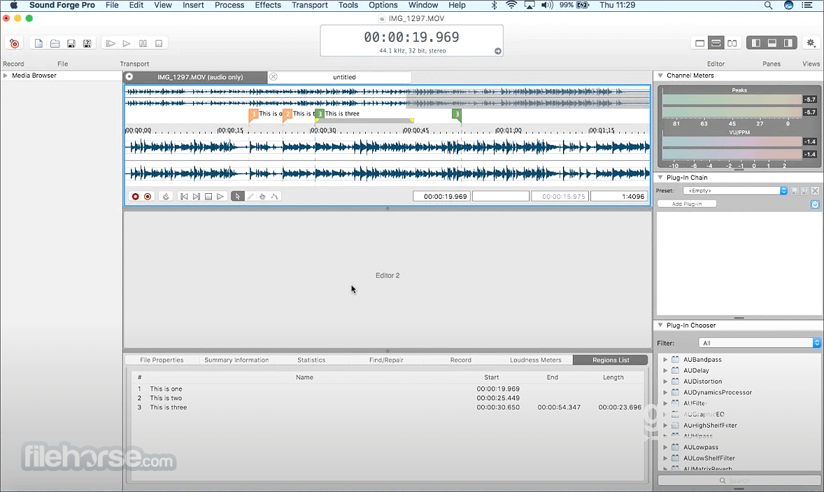 Sound Forge Pro 2.5.0 Build 133 Screenshot 1