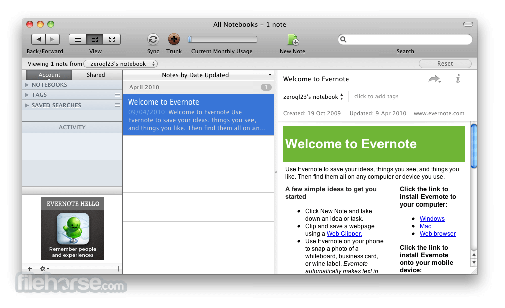 Evernote for Mac 6.11.1 Build 455059 Screenshot 1