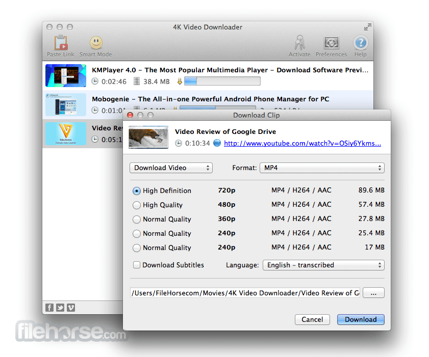 4K Video Downloader for Mac 3.0.2.1100 Captura de Pantalla 2