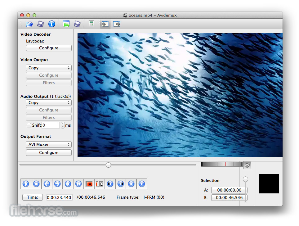 Avidemux for Mac 2.6.3 Captura de Pantalla 1
