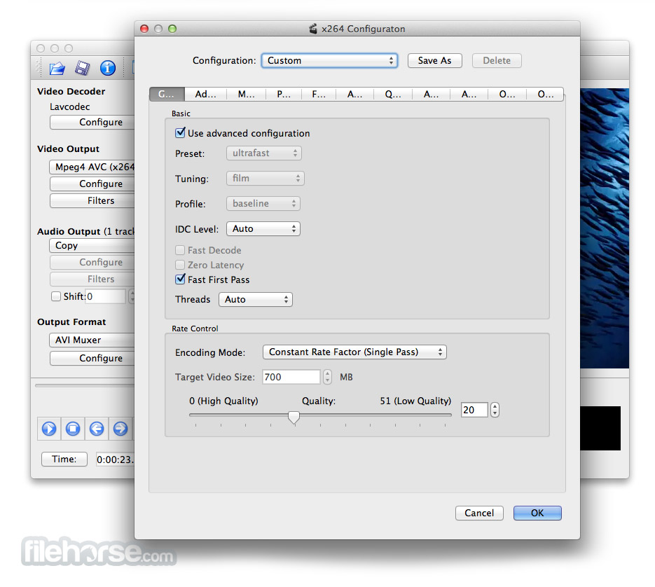 Avidemux for Mac 2.6.5 Captura de Pantalla 3
