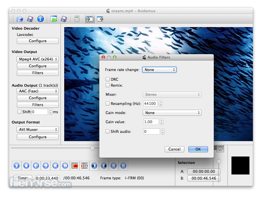 Avidemux for Mac 2.6.10 Captura de Pantalla 4