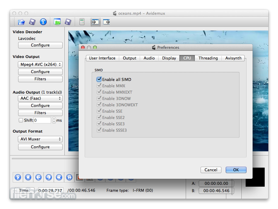Avidemux for Mac 2.4.4 Captura de Pantalla 5