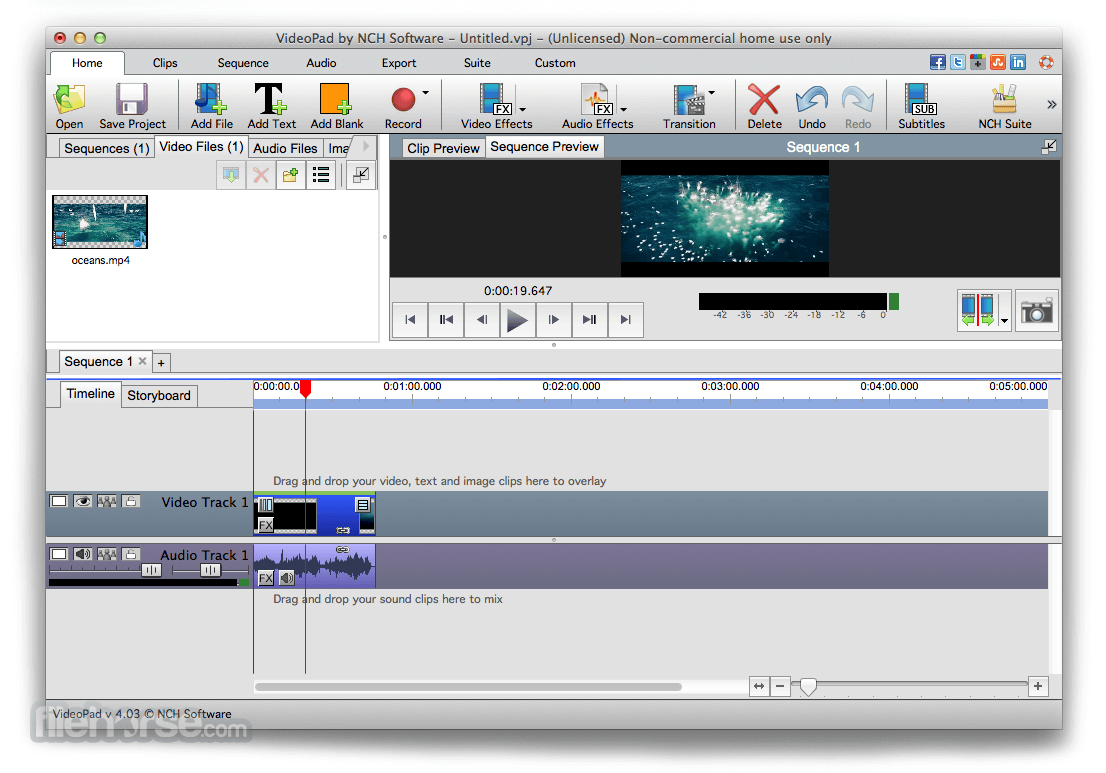 VideoPad Video Editor 4.21 Screenshot 1