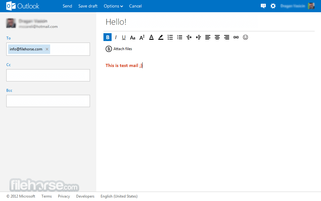 Outlook Screenshot 2