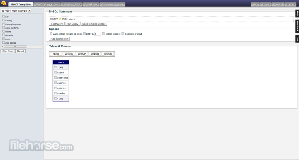 MyQuery Builder Screenshot 1