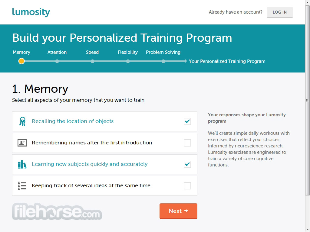 Lumosity Screenshot 1