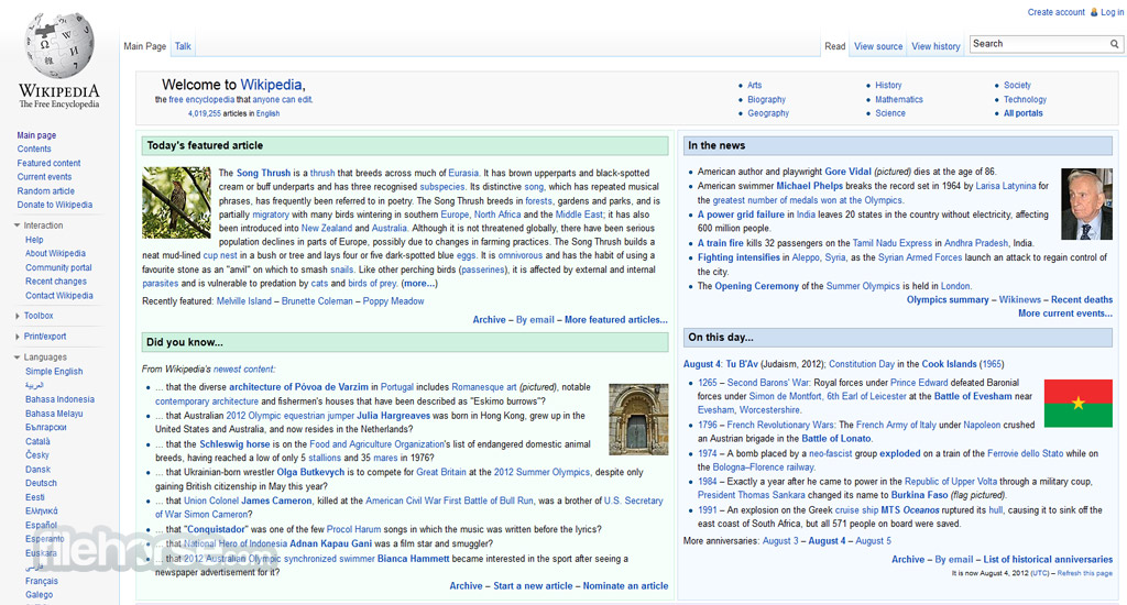 Wikipedia Captura de Pantalla 3