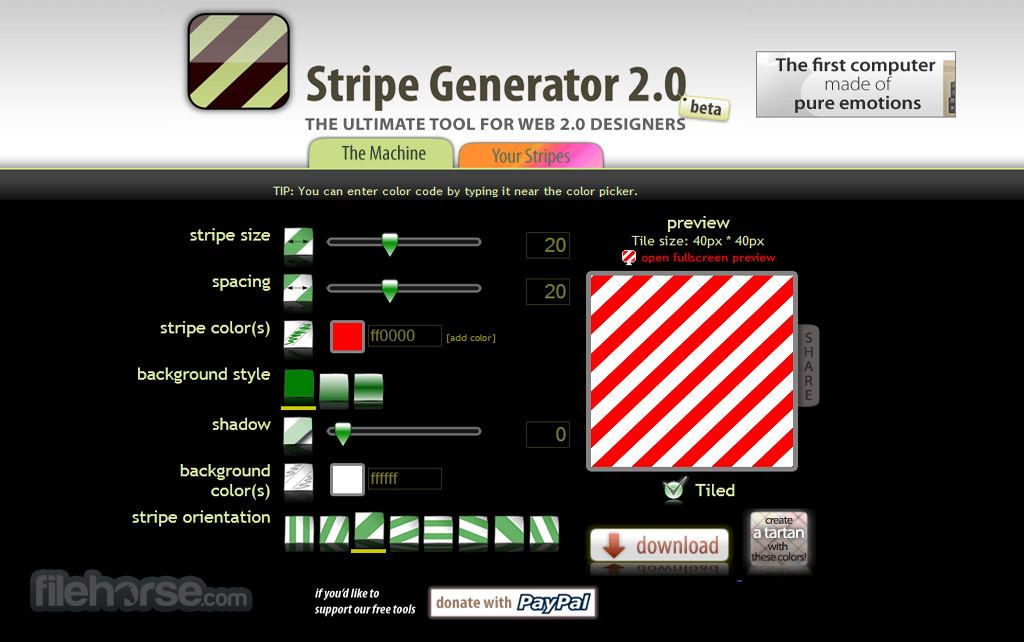 Stripe Generator Screenshot 1