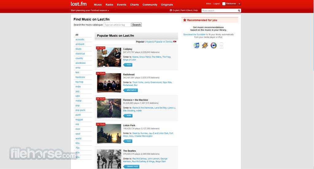 Last.fm Captura de Pantalla 1