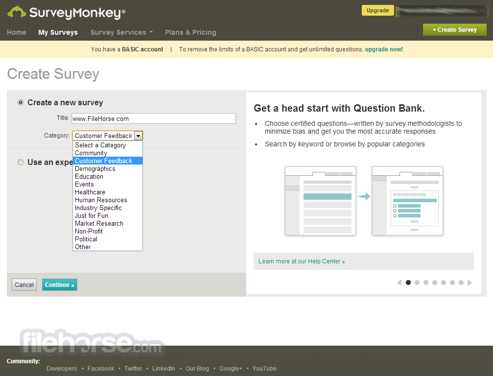 SurveyMonkey Screenshot 1