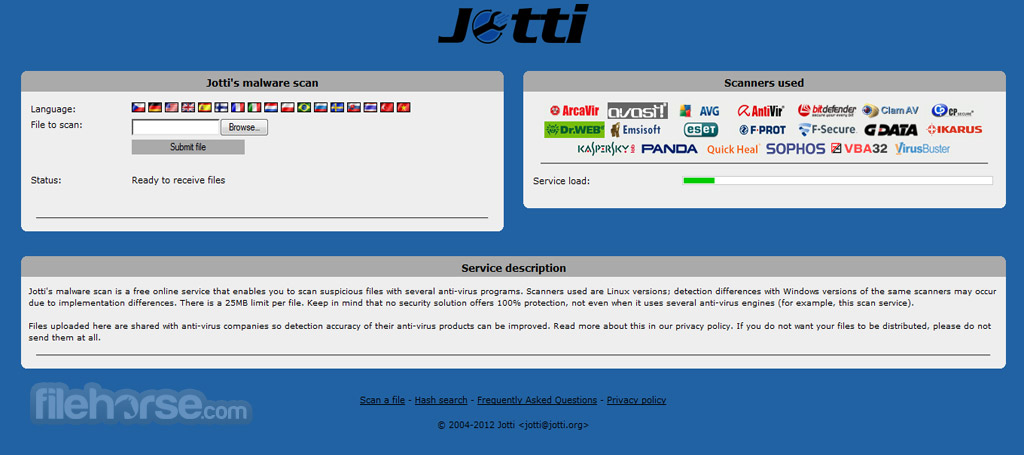 Jotti`s malware scan Screenshot 1