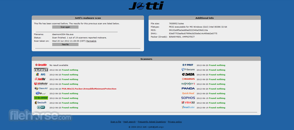 Jotti`s malware scan Screenshot 3