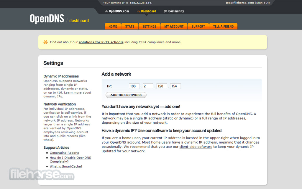 OpenDNS Screenshot 1
