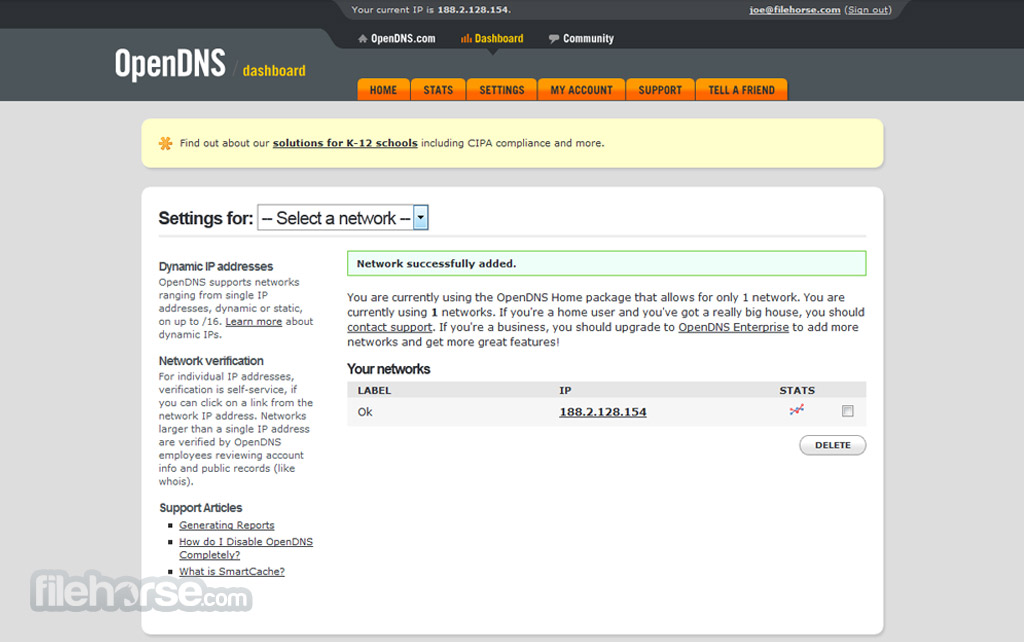 OpenDNS Screenshot 2