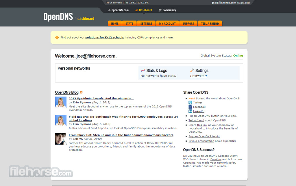OpenDNS Screenshot 3