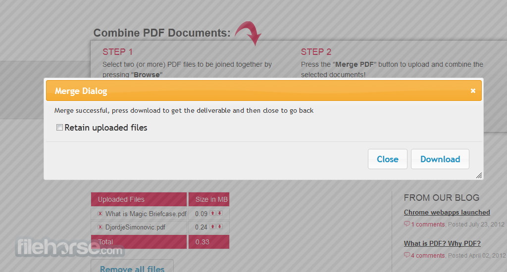 FoxyUtils MergePDF Screenshot 2